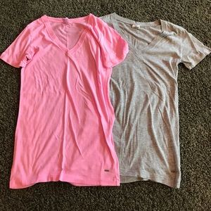 Pink Victoria Secret T-Shirts 2-pc Pink & Gray XS